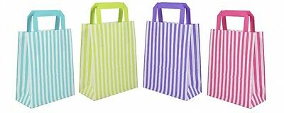 CANDY STRIPE PAPER CARRIER BAGS WITH FLAT HANDLES ** Choose size and quantity***