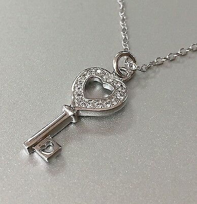 """NEW REAL 925 Sterling Silver Pave CZ Key Heart Pendant/Charm Chain Necklace 18"""""""
