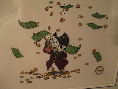"1992 Disney UNCLE ""SCROOGE McDUCK and MONEY ""Framed 19x16"" SERIGRAPH CEL"