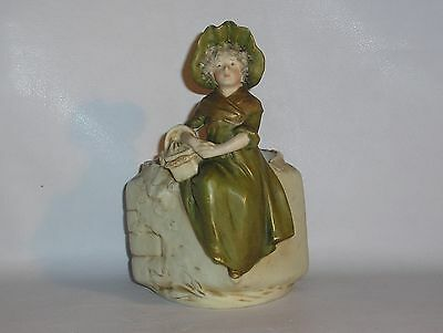ROYAL DUX Vase with girl in 19th century costume holding a basket.