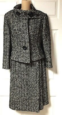 Vintage Pierre Cardin Paris 1960's Black And White Tweed Wool Skirt Suit