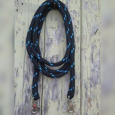 Clip On Rope Reins in Black with Blue Fleck - Your choice of length & clip