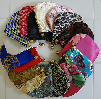 "Brocade Silk Handmade Pouch Bag Jewlery Gift Coin 4"" x 4"" LOT OF 12 assorted new"