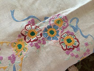Vintage Tablecloth Embroidery Pale Pink Linen Floral