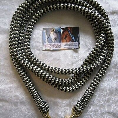Clip On Rope Reins in Black/Beige Zig Zag - Your choice of length & clip