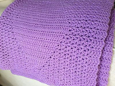NEW Handmade LAVENDER Knit Crochet Baby Blanket Afghan Purple