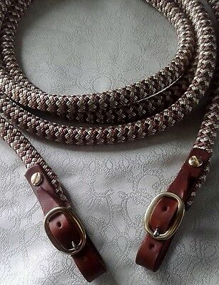 Brown Leather Brass Buckled End Reins in Brown & Beige Zig Zag  choice of length