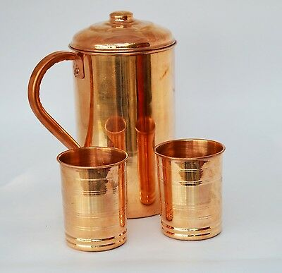 2 Pieces Drinking Water Glasses With 1 Copper Pitcher Jug  The Great Ayurveda...