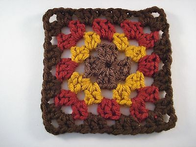 Crochet Granny Squares 16 Pieces Brown Gold Red 4""