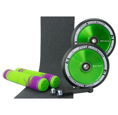 Root Ind AIR 120mm Green Scooter Wheels +Purple/Green Grips +Tape  +Axle Upgrade