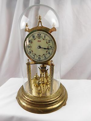 Vintage German Anniversary Clock Dome Torsion Mantel Brass #2