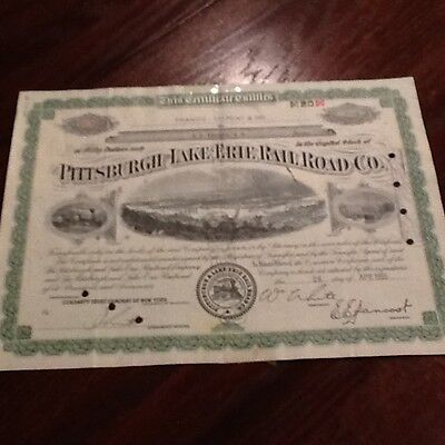 The Pittsburgh Lake Erie Railroad Company 20 Shares Stock Certificate