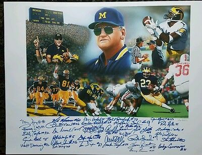 Bo Schembechler Lithograph Autographed by 32 Greats Anthony Carter Rob Lytle COA