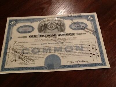 Erie Railroad Company 100 Shares - Drawn In Error, Not Issued) Stock Certificate