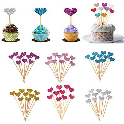 10Pcs Glitter Love Heart Wedding Cake Topper Souvenirs Birthday Party Decoration
