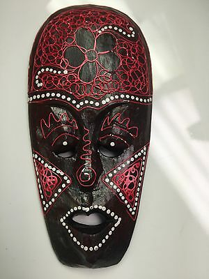 Intricately-detailed  Red Wooden African Mask. Unique Home Accent.