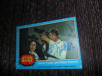 Vintage Carrie Fisher Signed Autographed 1977 Topps Star Wars Blue #65 Card