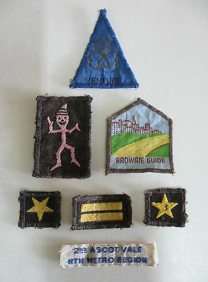 Brownie Guide Cloth Badges - Lot of 7 - Australia - 1970s