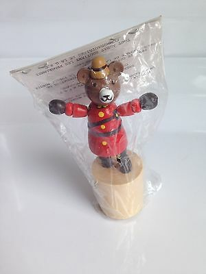 RARE!Wooden BEAR CANADIAN MOUNTIE RCMP Figurine, Press Button Puppet, Collapsing