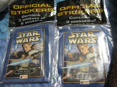 Star Wars Attack Of The Clones Stickers 2Bags Of 3 Packs!merlin! 25% Off! Look!