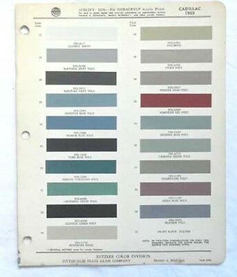 1960 Cadillac Ppg  Color Paint Chip Chart All Models Original