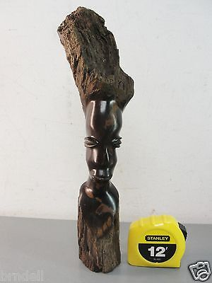 Carved Ebony Wood Sculpture African Woman Abstract Wooden Folk Art Carving