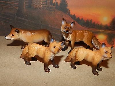 '04'10 Retired Schleich Red Fox Family # 14338~14648~14649 Excellent Condition