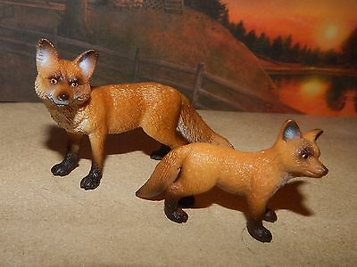 2010 Retired Schleich Red Fox Family #14648~14649 Excellent Condition