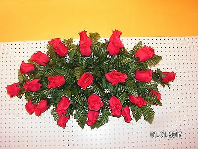 Deluxe Memorial CEMETERY Flower Headstone Tombstone Saddle Grave RED Roses