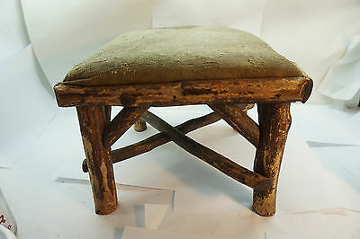 Antique Wood Footstool Foot Stool Rustic Primitive Twig Adirondack Ottoman Old