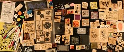 Huge Lot of stamps, wood mounted, clear, markers, stencils, ink,and more - used