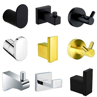 Bathroom Wall Mounted Towel Rack Coat Hat Robe Hook Door Hanger Black/Chrome