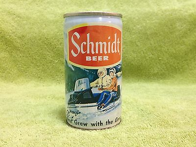Vintage Old Schmidt Beer Snowmobile Artic Cat Mountain Snow Can Metal 1970's