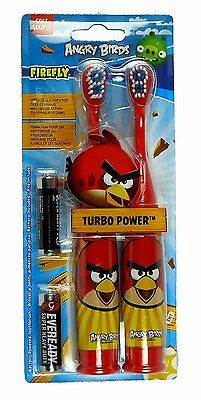 2x Angry Birds TURBO POWER Soft Souple Bristle Vibrating Toothbrush RED Bird NEW
