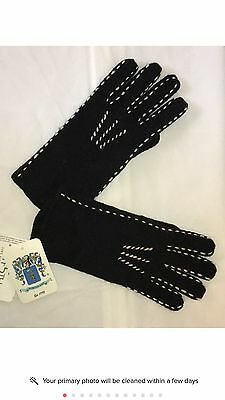 New Women's Portolano Wool Gloves, Black/White, Size M/L