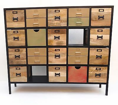 20 Drawers Chest Cabinate Mango Wood Iron  Industrial Furniture