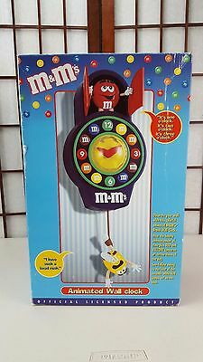 M & M's VINTAGE ANIMATED WALL CLOCK IN ORIGINAL PACKAGING BOOKLET M&M