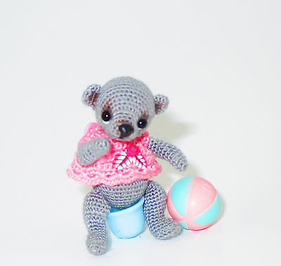 Gray Mini-bear with accessories, amigurumi, crocheted, 1,5 inches, by Irina Ch