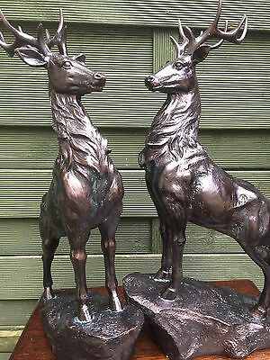 Pair of 2 large dark brown standing stags deer decoration figures 40cm high new