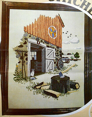 The Chopping Block - Farm Yard Scene - unworked Paragon Crewel Embroidery kit