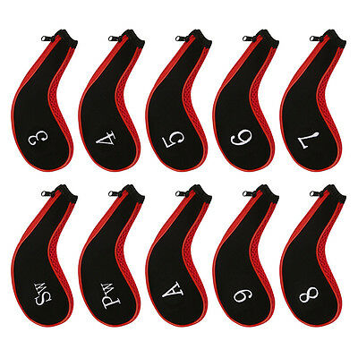AU Set Of 10 Sleeve Golf Club Iron Headcovers Head Cover Protect Case Red Black