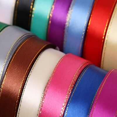 (25 yards/roll) 5/8'' (15mm) Gold Edged Grosgrain Ribbon gift ribbons Craft