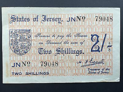 Jersey 2 Shillings P4 Rare Note German Occupation WW2 Issued 1941 - 1942 VF+/aEF