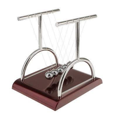 1x Newtons Cradle Physics Science Executive Balls Office Desk Toy T Shape-S