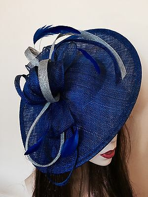 Hatinator Cobalt Royal Blue Silver Saucer Fascinator Hat Wedding Formal Disc