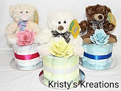 Small Nappy Cake With Teddy Baby Shower Gift Boy Girl Unisex