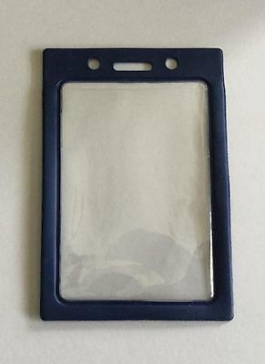1 Vertical Vinyl Id Badge Holder With Clear Window & Blue Color Frame Border