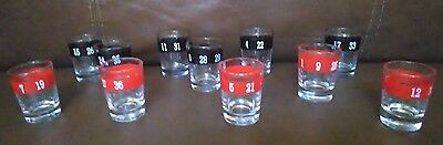 Roulette Numbered Shot Glass Set of 11