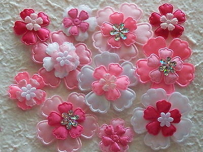 60 fabric FLOWERS Mixed sizes FFE9PX Pink Mix Card & Scrapbook Embellishments