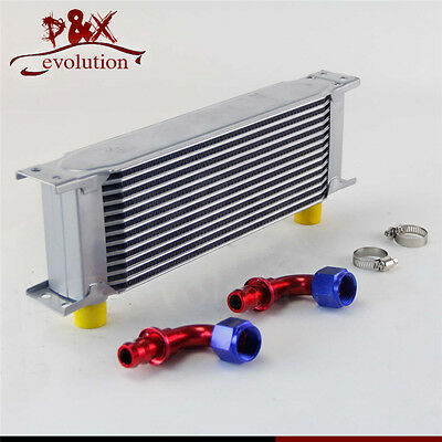 Universal 13 Row AN10 Engine Transmission Oil Cooler w/ Fittings Kit Silver